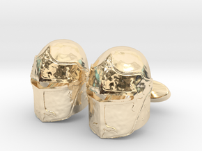 Medieval Helmet Cufflinks in 14k Gold Plated Brass
