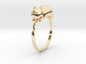 Happy Cat Ring in 14k Gold Plated Brass: 7 / 54