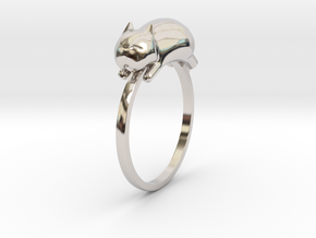 Happy Cat Ring in Platinum: 7 / 54