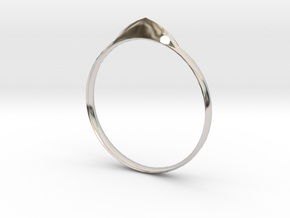 Edge Ring US Size 7 UK Size O in Rhodium Plated Brass