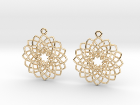 Mandala Flower Earrings in 14K Yellow Gold