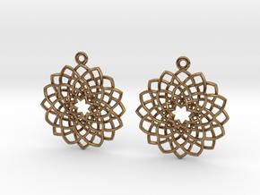 Mandala Flower Earrings in Natural Brass