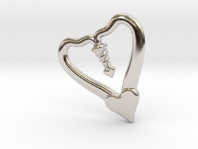 TWO HEARTS ONE LOVE in Rhodium Plated Brass