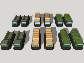 3mm Military GEV Cargo Trucks (12pcs) in Smooth Fine Detail Plastic
