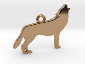 Howling Wolf Pendant in Polished Brass