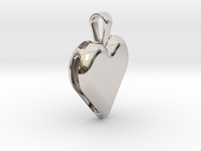 Double heart pendant in Rhodium Plated Brass