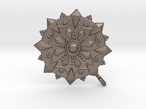 Dharmawheel in Polished Bronzed Silver Steel