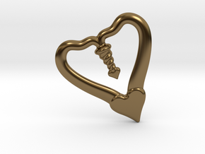 Valentine, 1.5 SCALE 2 Hearts, One Love in Polished Bronze