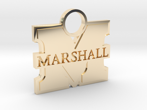 Marshall University Charm in 14k Gold Plated Brass