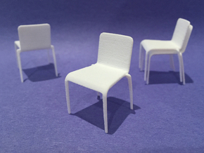 Plastic Stacking Chair 1:24 scale in White Strong & Flexible