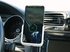 Motorola Droid Turbo - Qi Wireless Car Charge Dock in White Strong & Flexible Polished