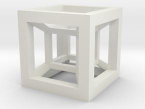 4D Hypercube in White Natural Versatile Plastic