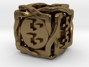 'Twined' Dice D6 MTG -1/-1 Counters die in Natural Bronze