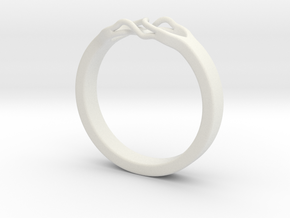 Roots Ring (22mm / 0,86inch inner diameter) in White Natural Versatile Plastic