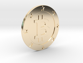 Bitcoin real coin in 14k Gold Plated Brass
