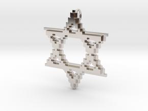 8-Bit Star of David pendant (big) in Rhodium Plated Brass