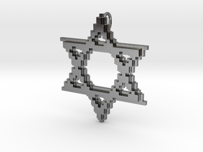 8-Bit Star of David pendant (big) in Polished Silver
