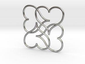 Heart Earring or Pendant in Natural Silver
