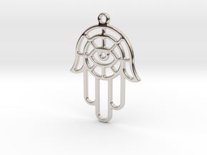 The hand of Fatima in Rhodium Plated Brass