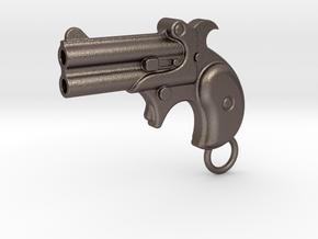 Gun Bottle Opener 4 in Polished Bronzed Silver Steel