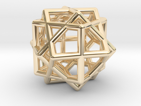 Compound of Three Cubes in 14k Gold Plated Brass