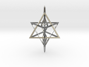 Merkaba Spinner DNA - 6cm in Natural Silver