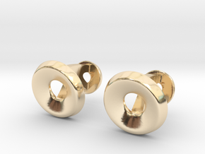 Circle Halo Cufflinks in 14K Yellow Gold