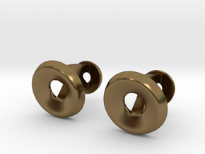 Circle Halo Cufflinks in Polished Bronze