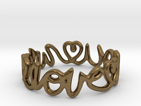 """We Love you"" Ring in Natural Bronze"