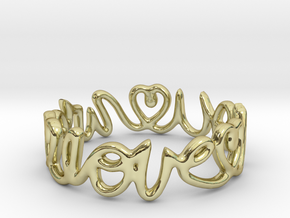 """We Love you"" Ring in 18k Gold Plated Brass"
