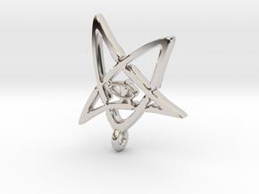 Derleth Elder Sign Earring (single) in Rhodium Plated Brass