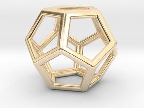 DODECAHEDRON (Platonic) in 14k Gold Plated Brass