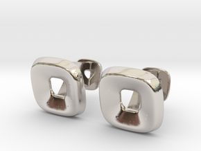 Square Halo Cufflinks in Rhodium Plated Brass