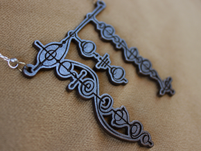 """Live Long and Prosper"" Vulcan Script Pendant in Polished and Bronzed Black Steel"