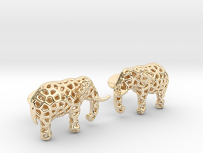 Elephant Cufflinks in 14k Gold Plated Brass