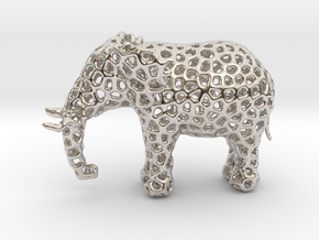 The Osseous Elephant in Rhodium Plated Brass