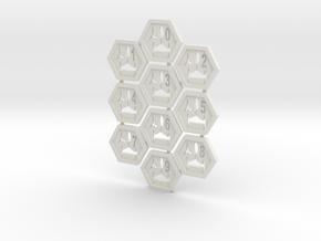 Klingy Hex Tiles in White Natural Versatile Plastic