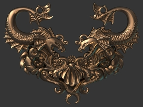 Viperfish and Nautilus Medley  in Polished Bronzed Silver Steel
