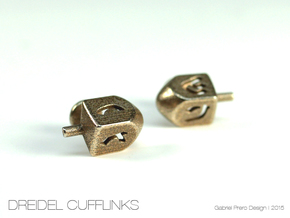 Dreidel Cufflinks in Polished Bronzed Silver Steel