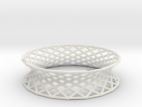 Hyperboloid Doubly-Ruled Structure Bracelet in White Natural Versatile Plastic