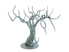 Jewellery Tree With Birds in White Strong & Flexible Polished