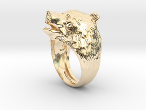 Bear ring in 14k Gold Plated Brass