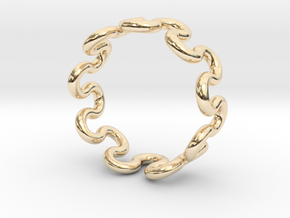 Wave Ring (19mm / 0.74inch inner diameter) in 14K Yellow Gold