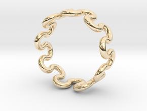Wave Ring (16mm / 0.62inch inner diameter) in 14k Gold Plated Brass
