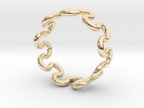 Wave Ring (18mm / 0.70inch inner diameter) in 14k Gold Plated Brass