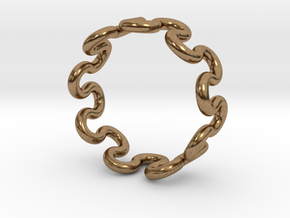 Wave Ring (24mm / 0.94inch inner diameter) in Natural Brass