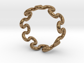 Wave Ring (25mm / 0.98inch inner diameter) in Natural Brass