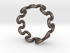 Wave Ring (21mm / 0.82inch inner diameter) in Polished Bronzed Silver Steel