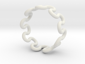 Wave Ring (15mm / 0.59inch inner diameter) in White Natural Versatile Plastic