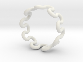 Wave Ring (17mm / 0.66inch inner diameter) in White Natural Versatile Plastic